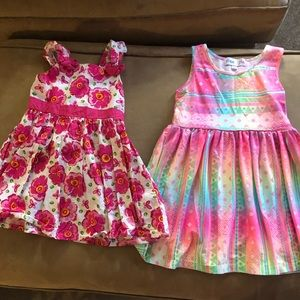 Lot of 2 4T sleeveless pink dresses